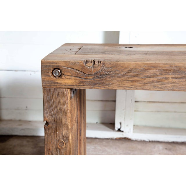 """Reclaimed Wood Parsons Dining Entry Bed Bench Coffee Table 70"""" For Sale - Image 9 of 11"""