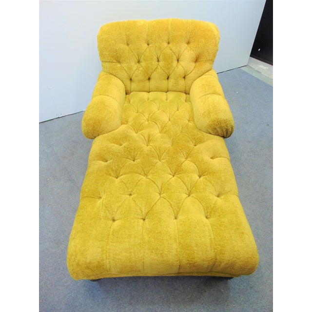 Wood Schumacher Regency Style Yellow Tufted Chaise Lounge For Sale - Image 7 of 9