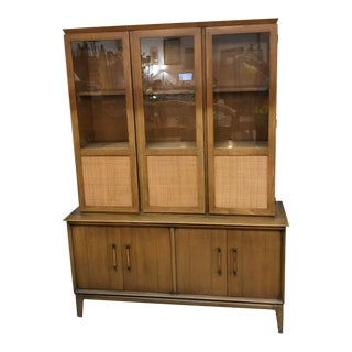 Mid-Century Danish Modern Teak With Cane Front Cabinet For Sale