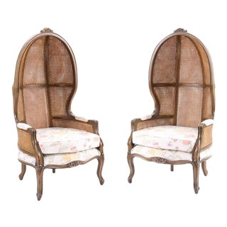 Vintage Mid Century Fully Cane Backed Porter Chairs - A Pair For Sale