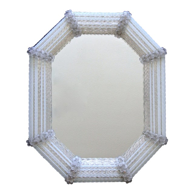 Image of Murano Venetian White Clear Twisted Rod Floral Wall Mirror