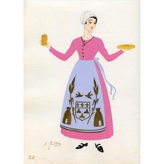 1930s, French Provincial Costumes - Orleans, Original Pochoir Print For Sale