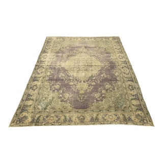 Large Antique Turkish Plum, Green, Beige Wool Rug - 9′5″ × 12′5″ For Sale