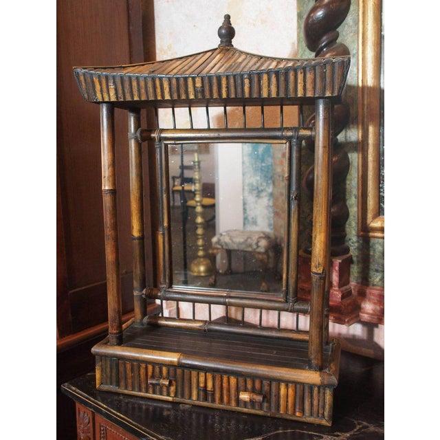 """Unusual Anglo-Chinese bamboo """"pagoda"""" dressing mirror, Circa 1920."""