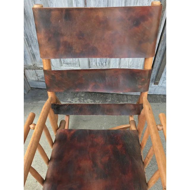 Campaign Style Folding Leather Rockers - a Pair For Sale - Image 4 of 8
