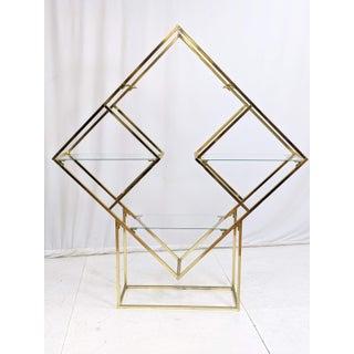 Milo Baughman Style Brass & Glass Diamond Etagere Preview