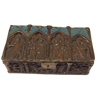 1940s Antique Bronze Clad Bas Relief Dresser Box For Sale