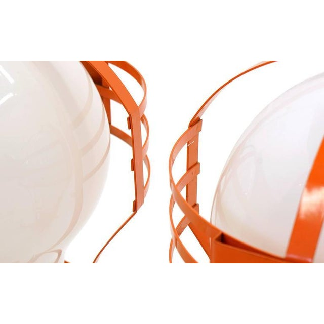 Metal Pair of Oversized Pop Art Mod Light Bulb Table or Hanging Lamps, Orange Frames For Sale - Image 7 of 9