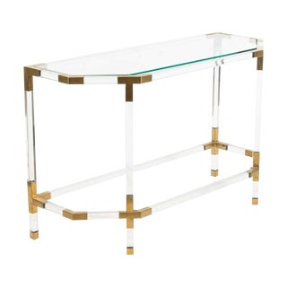 1970s Modern Hollywood Regency Lucite and Brass 2 Tier Console Table Att. Charles Hollis Jones For Sale