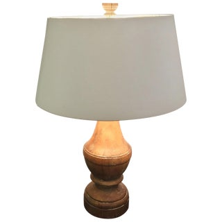 Great Looking Large Natural Carved Wood Imported Table Lamp For Sale