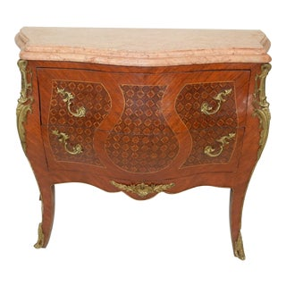 Antique French Louis XV Inlaid Bombe Commode Marble Inlaid Chest Drawers Ca.1880