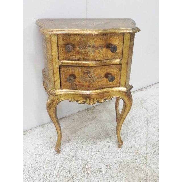 Italian Florentine Gold Gilt Nightstand For Sale - Image 4 of 7