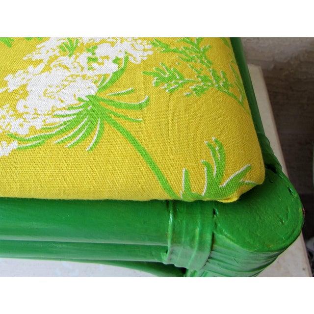 Mid-Century Green Rattan Footstool - Image 5 of 8