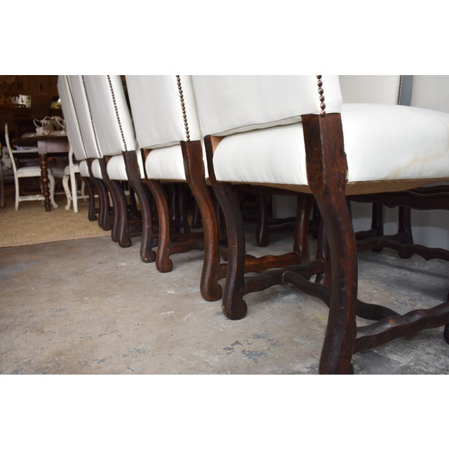 1940s French Provincial Upholstered Os De Mouton Dining Chairs - Set of 10 For Sale - Image 11 of 13