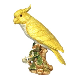Italian Majolica Yellow Parrot Figurine For Sale