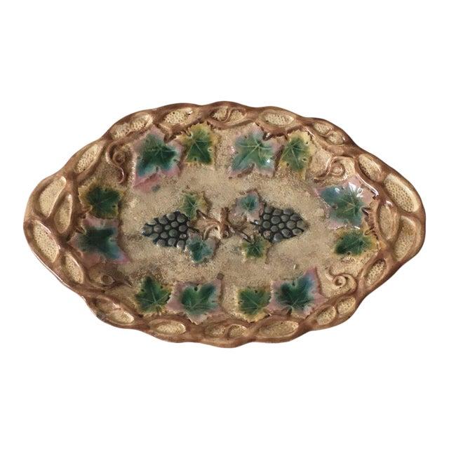 Italian Majolica Grape Plate For Sale