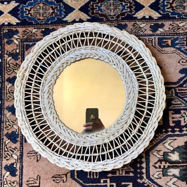 Abstract Vintage White Wicker Round Wall Mirror For Sale - Image 3 of 11