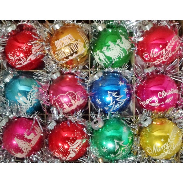 rare beautiful collection of 1960s vintage shiny brite stenciled christmas tree ornaments set of 12 - Christmas Tree Ornaments Sets