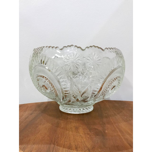 Vintage Cut Glass Punch Bowl & Cups - Set of 11 For Sale In Seattle - Image 6 of 12