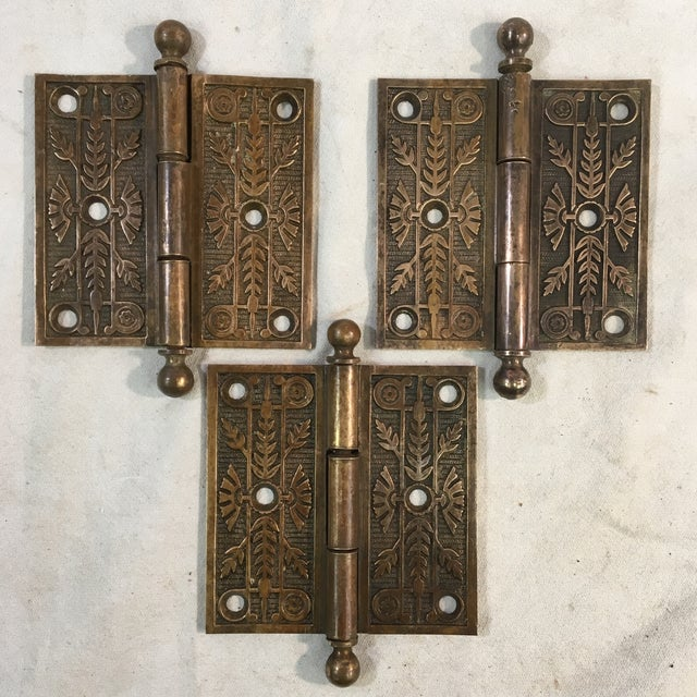 These beautiful Eastlake Victorian door hinges are made out of a gleaming brass and are perfect for any period or...