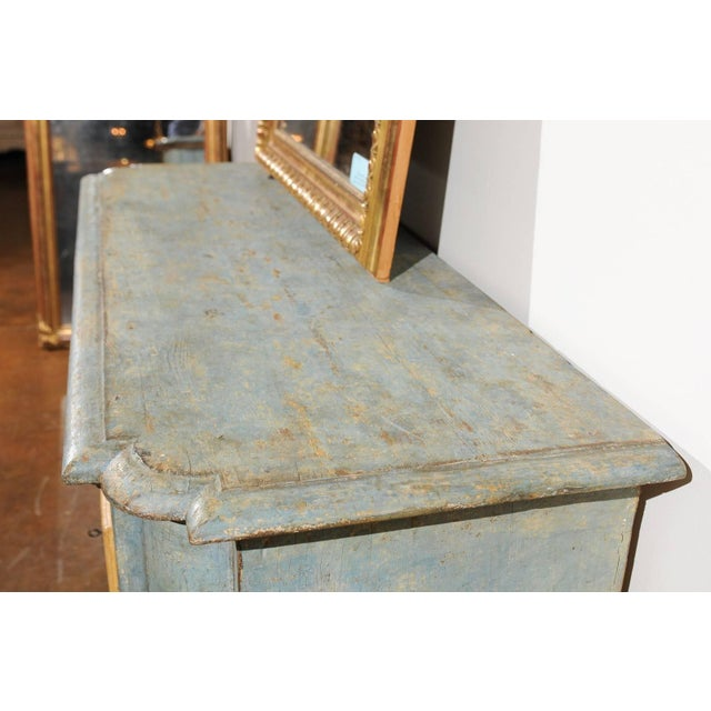 Blue Italian Florentine Light Grey Blue Painted Buffet with Two Doors from the 1820s For Sale - Image 8 of 11