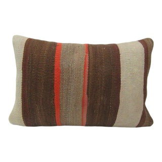 Turkish Brown & Orange Kilim Pillow For Sale
