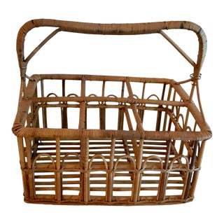 20th Century French Country Wicker Wine Bottle Carrier For Sale