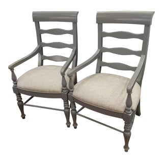Grey Ladderback Chairs- A Pair For Sale