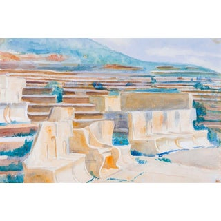"Original Mid-Century ""Amphitheater"" Watercolor Painting For Sale"