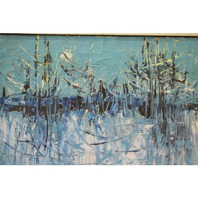 """Vintage Mid-Century """"Winter Woodlands"""" Abstract Oil Painting For Sale - Image 4 of 6"""