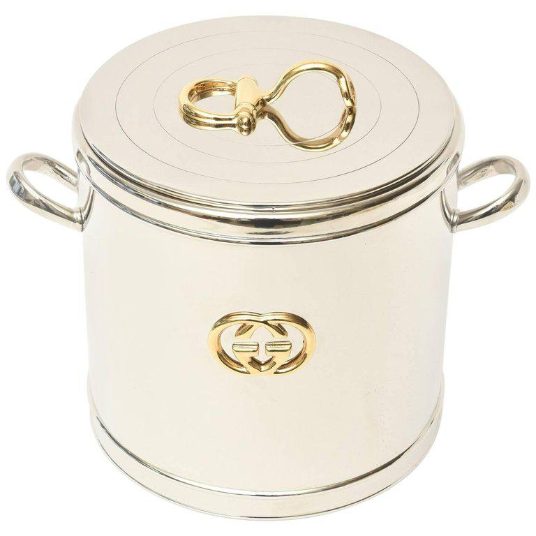 Italian Vintage Gucci 22 Karat Gold Plate And Silver Plate Ice Bucket /  Barware