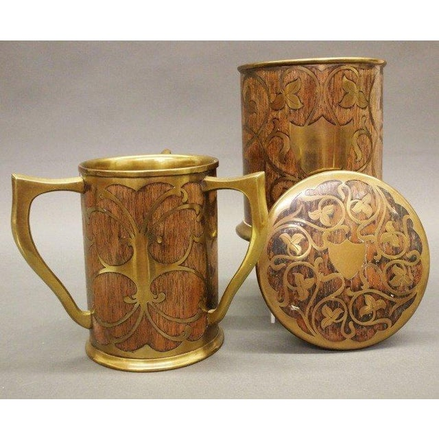 Late 19th C. or Early 20th C. Art Nouveau Inlaid Humidor and Loving Cup. Both pieces consist of rosewood and are adorned...