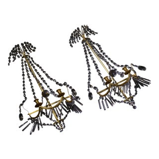 Large Early 19th Century Antique Russian Baltic 24k Gold Plate With Crystal Draped Wall Sconces - a Pair For Sale