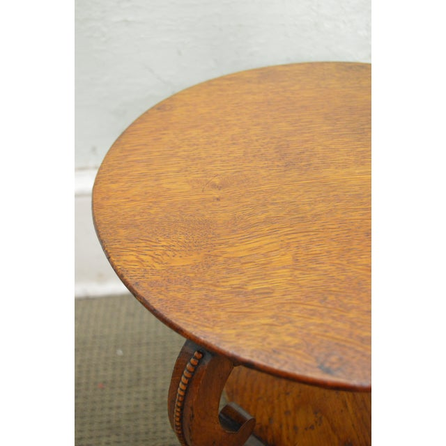 Antique Victorian Solid Oak 2 Tier Taboret Side Table - Image 5 of 10