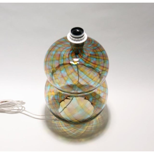 """A blown glass table light """"Reticello"""" technique design by Cenedese 1960s Made in Murano MEASUREMENTS Height: 34cm..."""