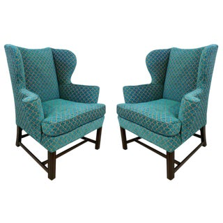 Pair of Curvaceous Wingback Chairs