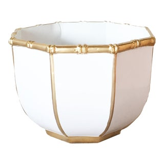 Bamboo Bowl in White, Large For Sale