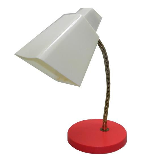 Americana 1950s Mid Century Modern White And Red Metal Gooseneck Table Lamp For