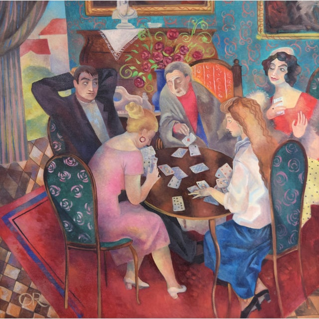 Olga Oreshnikov/Tamar Or (Russian/Israeli, 20th/21st Century) Oil painting on canvas depicting a family seated at a card...