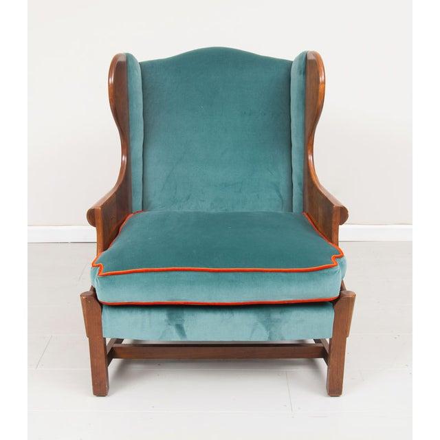 Blue Velvet Upholstered Stickley Arm Chair - Image 3 of 4