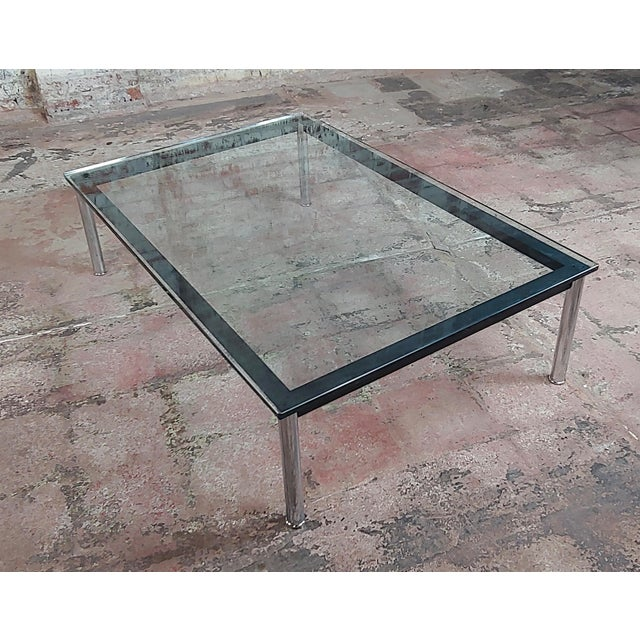Glass Le Corbusier for Cassina Vintage Rectangular Glass Top Coffee Table For Sale - Image 7 of 10