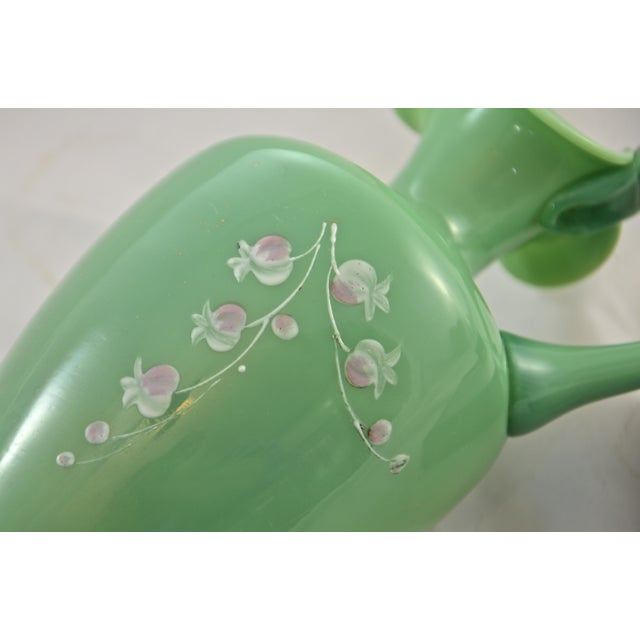 Late 19th Century 19th Century Green Jadeite Glass Vase For Sale - Image 5 of 8