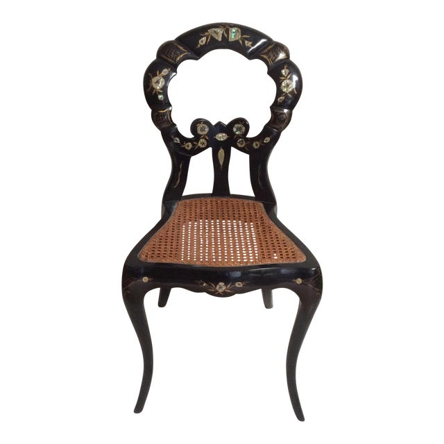 Italian Lacquered Chair With Mother of Pearl For Sale
