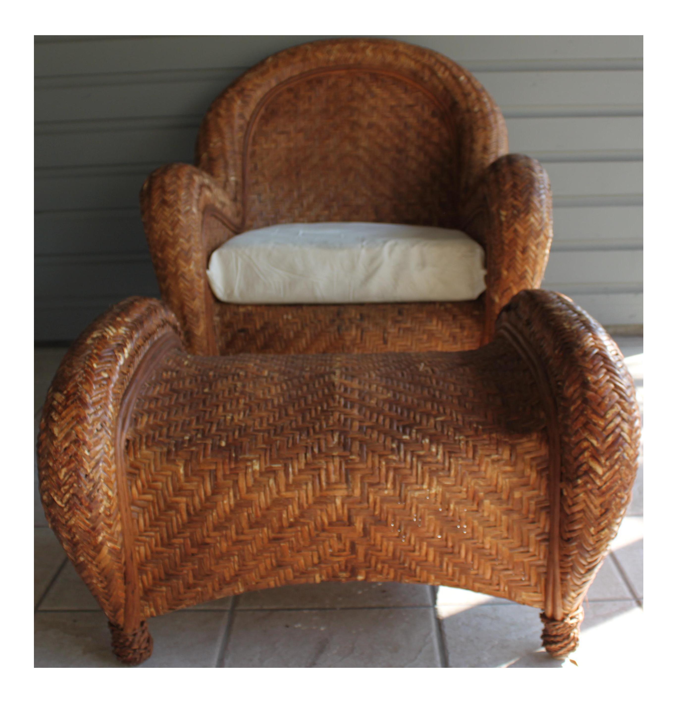 Pottery Barn Rattan Malabar Chair U0026 Ottoman