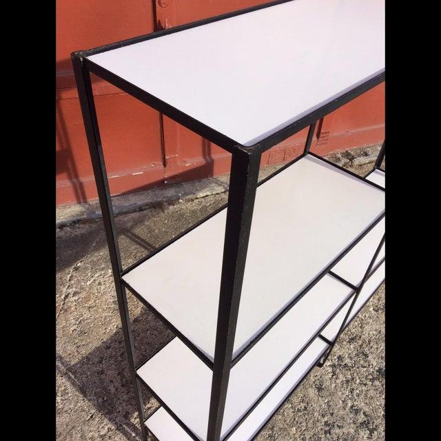 Mid-Century Modern Frederick Weinberg Style Wrought Iron Masonite Bookcase For Sale - Image 3 of 9