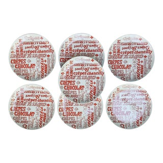 Graphic French Crepe Canape or Dessert Plates, Set of 7 For Sale