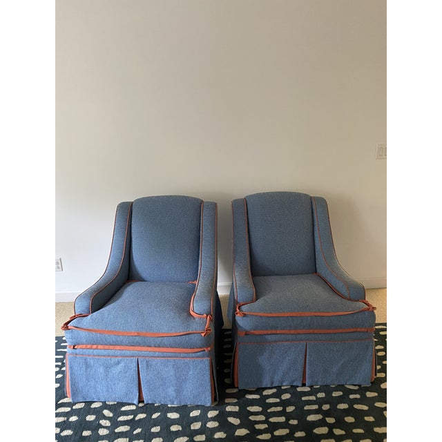 Blue Custom Made Large Swivel Chairs With Ottomans - 4 Pieces For Sale - Image 8 of 13