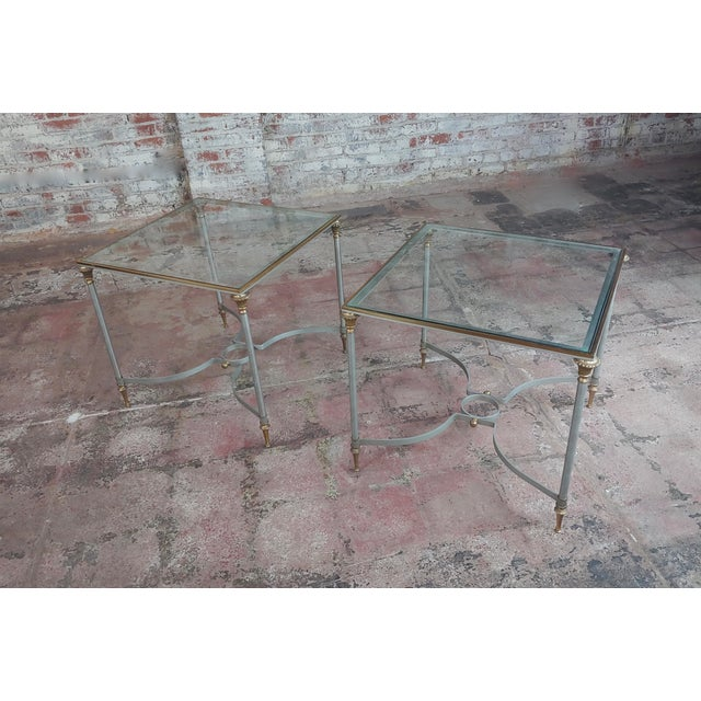 Vintage Brass French Side Tables W/Square Glass Top- a Pair For Sale - Image 10 of 10