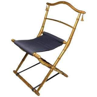 19th Century French Antique Napoleon III Gold Leaf Folding Chair For Sale