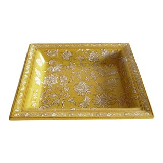 Tozai Home Yellow Floral Tray With Crackle Finish For Sale
